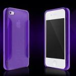 Чехол для iPhone 4/4S (пластик, прозрачный фиолетовый) для сублимации