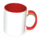 Кружка белая (красная внутри+ручка) для сублимации