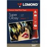 Фотобумага LOMOND Высококачественная Супер Глянцевая,260г/м2, A4 (21X29)/20