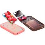 Чехол для iPhone 4/4S (пластик, прозрачный розовый) для сублимации