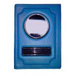 Автодокументы Обложка 2 в 1 автодокументы + паспорт из натуральной кожи Флотер - Голубой