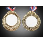 Медали под сублимацию золото АРТ (Комплектация : медаль, вкладыш для медали, лента.) Двухсторонняя