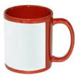 Кружка керамическая, Красная, с Белым Полем для печати, 330 мл для сублимации (d82 мм)