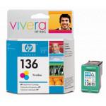HP № 136  Фотокартридж трехцветный  для DJ 5443, 5 мл