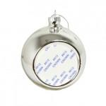 Елочный шар СЕРЕБРО d=80 мм, пластиковый, с алюминиевой вставкой d=50 мм для сублимации